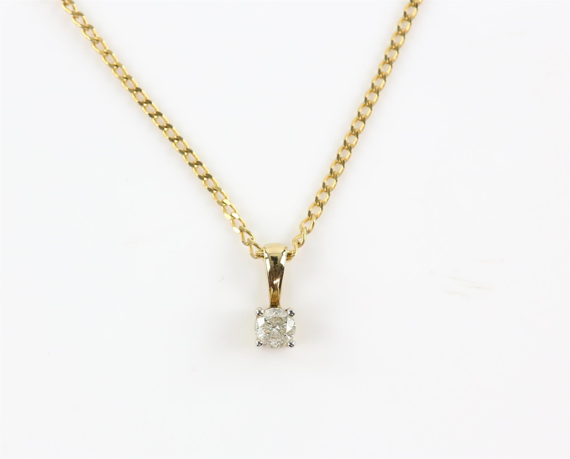 Single stone diamond pendant, round brilliant cut diamond weighing an estimated 0.23 carat,