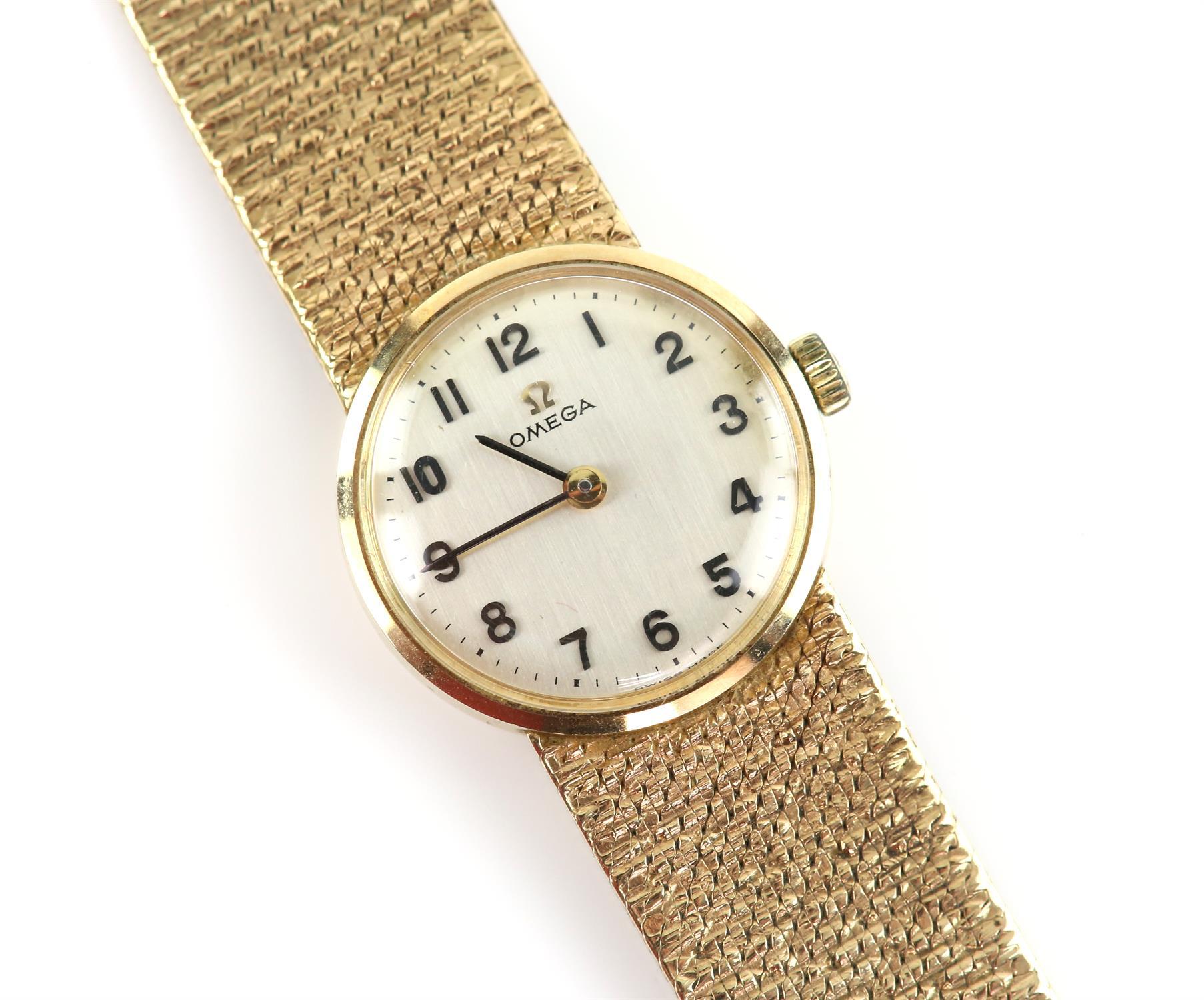 Vintage Omega watch, quartz movement, bracelet strap with textured bark finish, satin finish off - Image 2 of 3