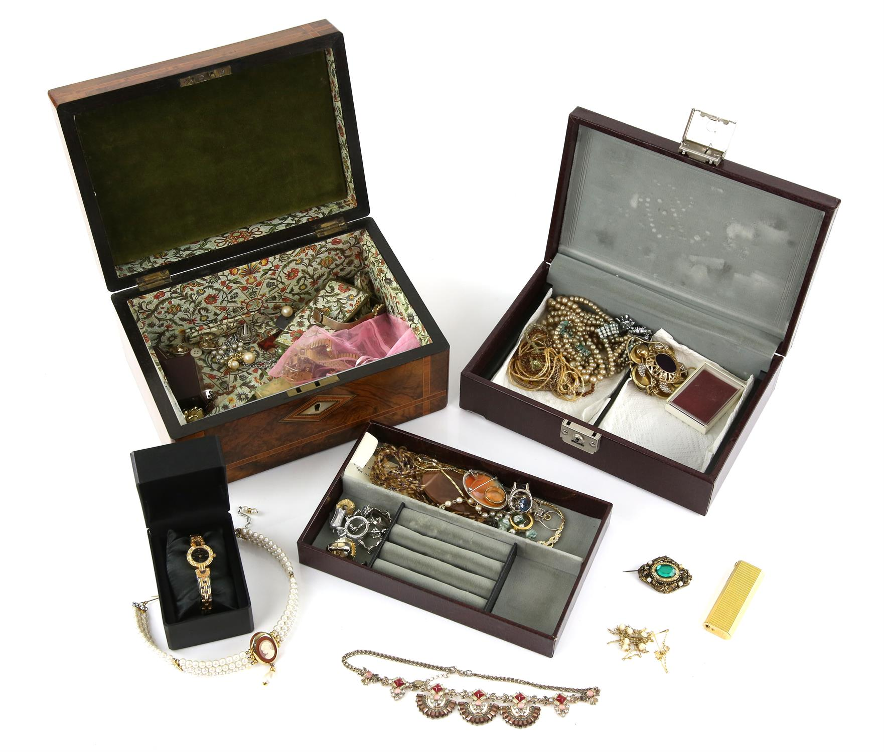 Two jewellery boxes containing various costume jewellery, including a silver blue cubic zirconia