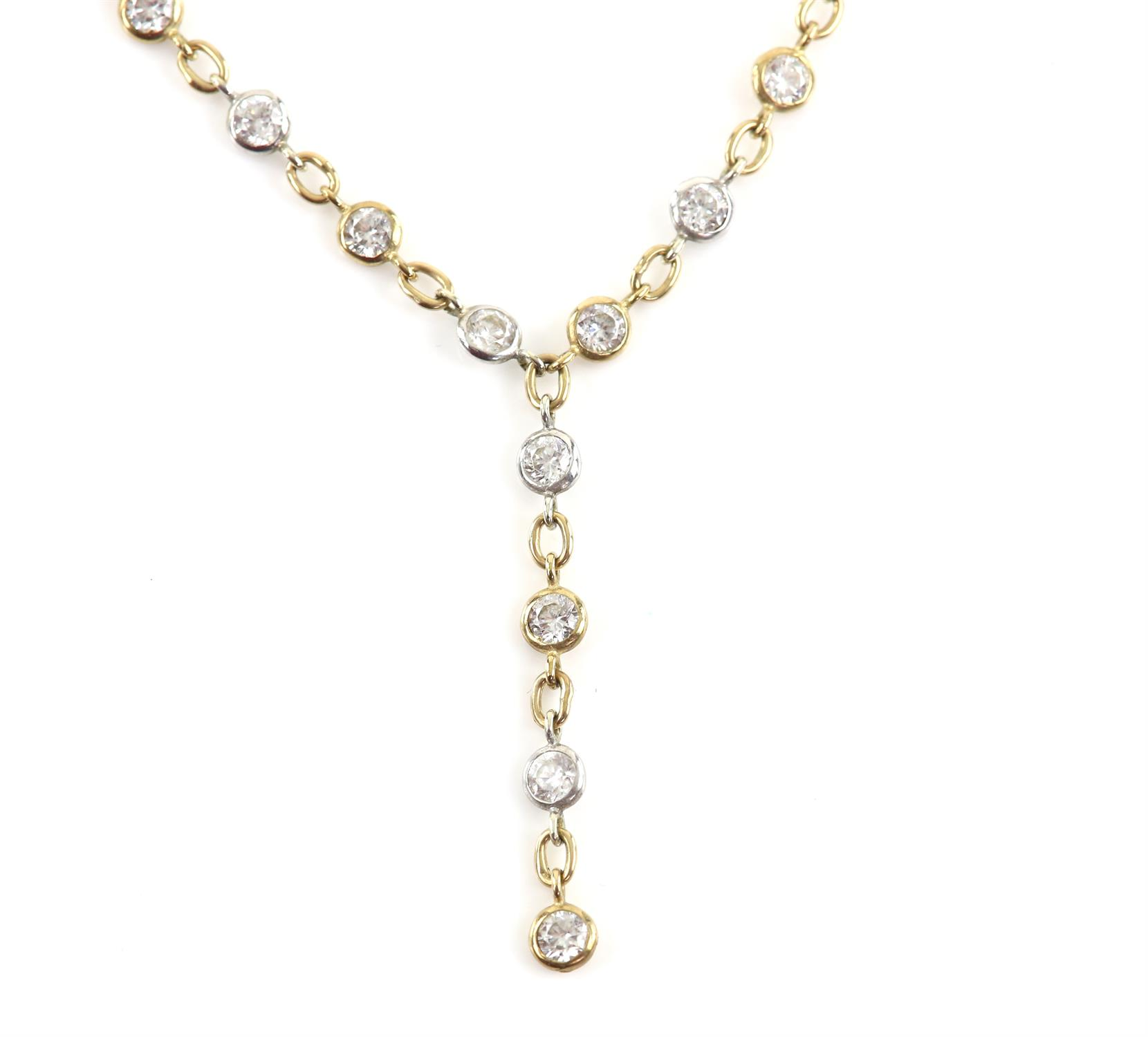 Cubic zirconia necklace, multi stone chain necklace, set with round cut cubic zirconia,