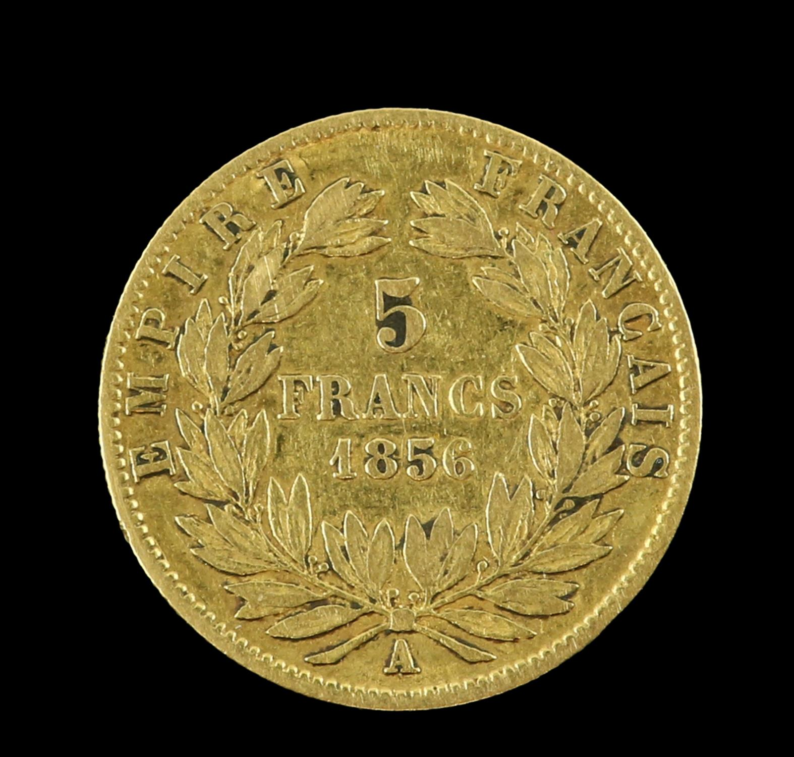 Napoleon III 1856 French 5 Franc gold coin