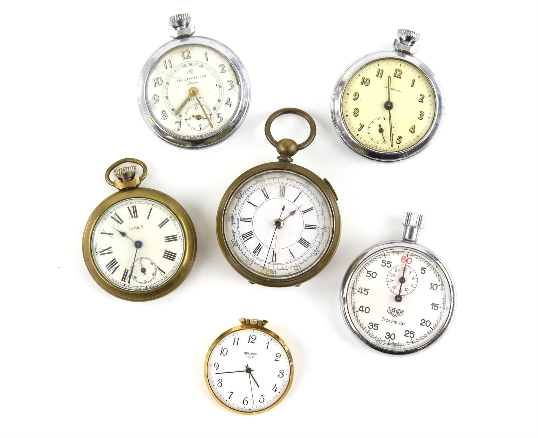 Six pocket watches, including a Heuer, track mate stop pocket watch, with lever wound movement,