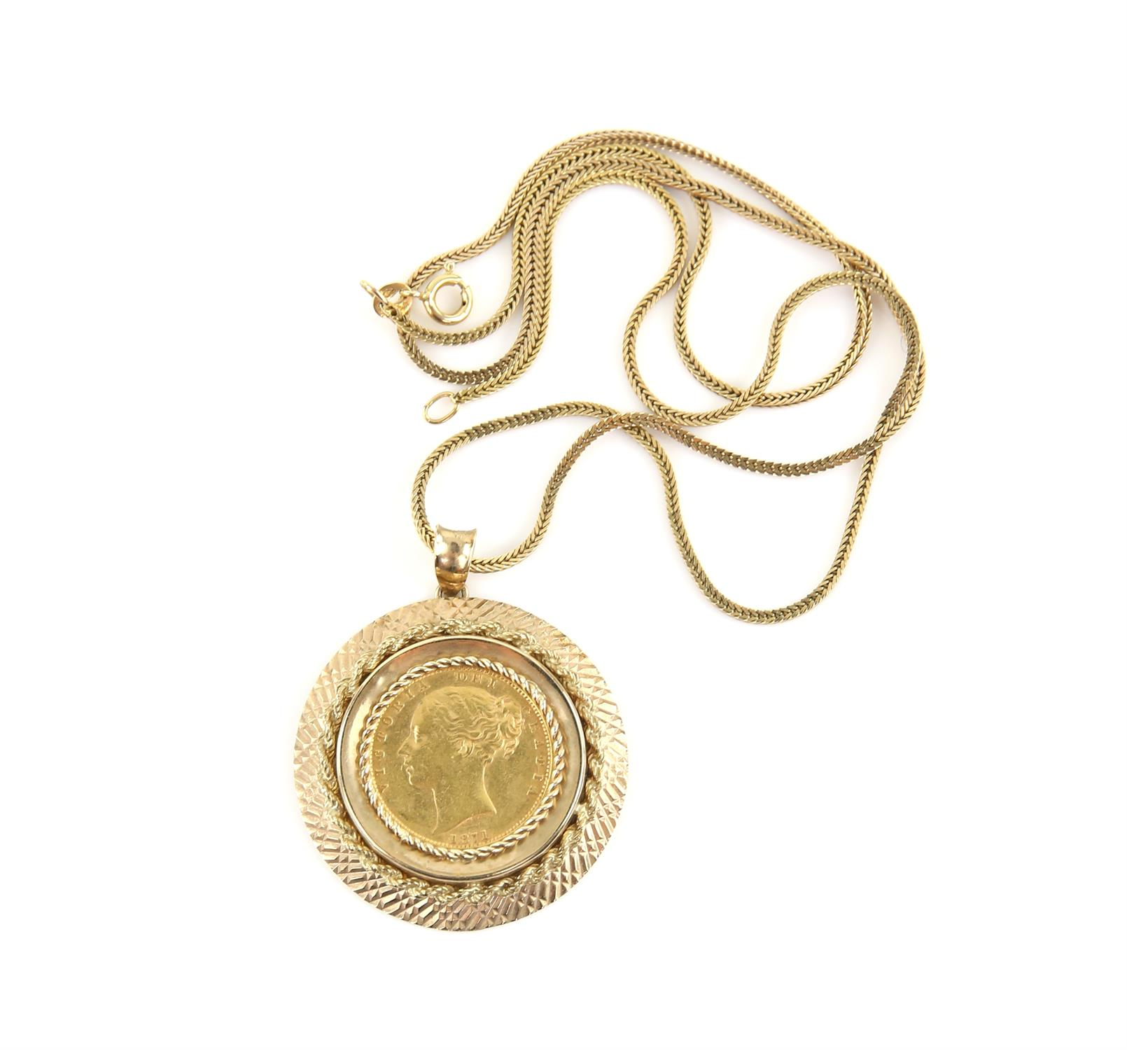 Pendant coin mount, in 9 ct set with a Victorian 1871 shield back sovereign, on a fancy link chain, - Image 3 of 3