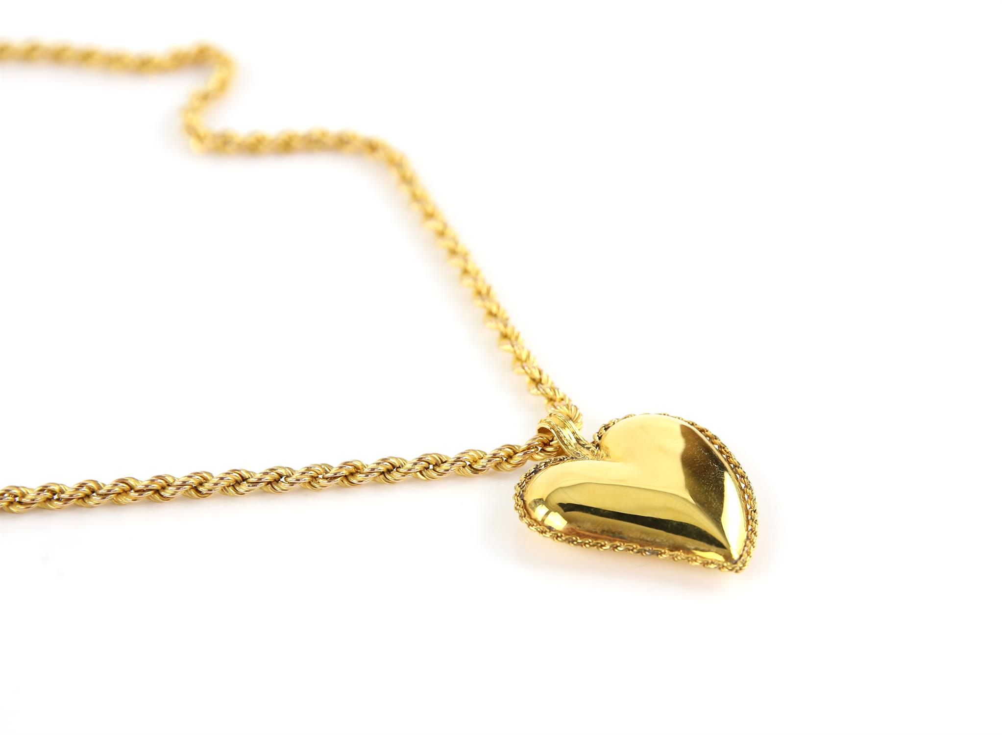 Gold heart pendant, designed as a puffed witches heart, in 14 ct, on a rope chain, hallmarked 9 ct, - Image 2 of 2