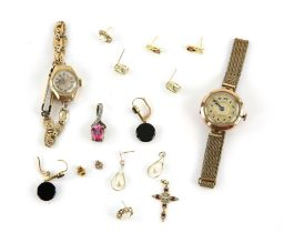 Mixed group of gold items including five pairs of gem set earrings, two gem set pendants and two