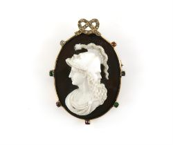 Sardonyx Cameo brooch, central panel depicting in a double faced helmet with a serpent,