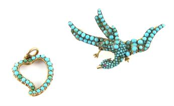 Victorian turquoise phoenix brooch, set with round cabochon turquoise to the whole body and wings,