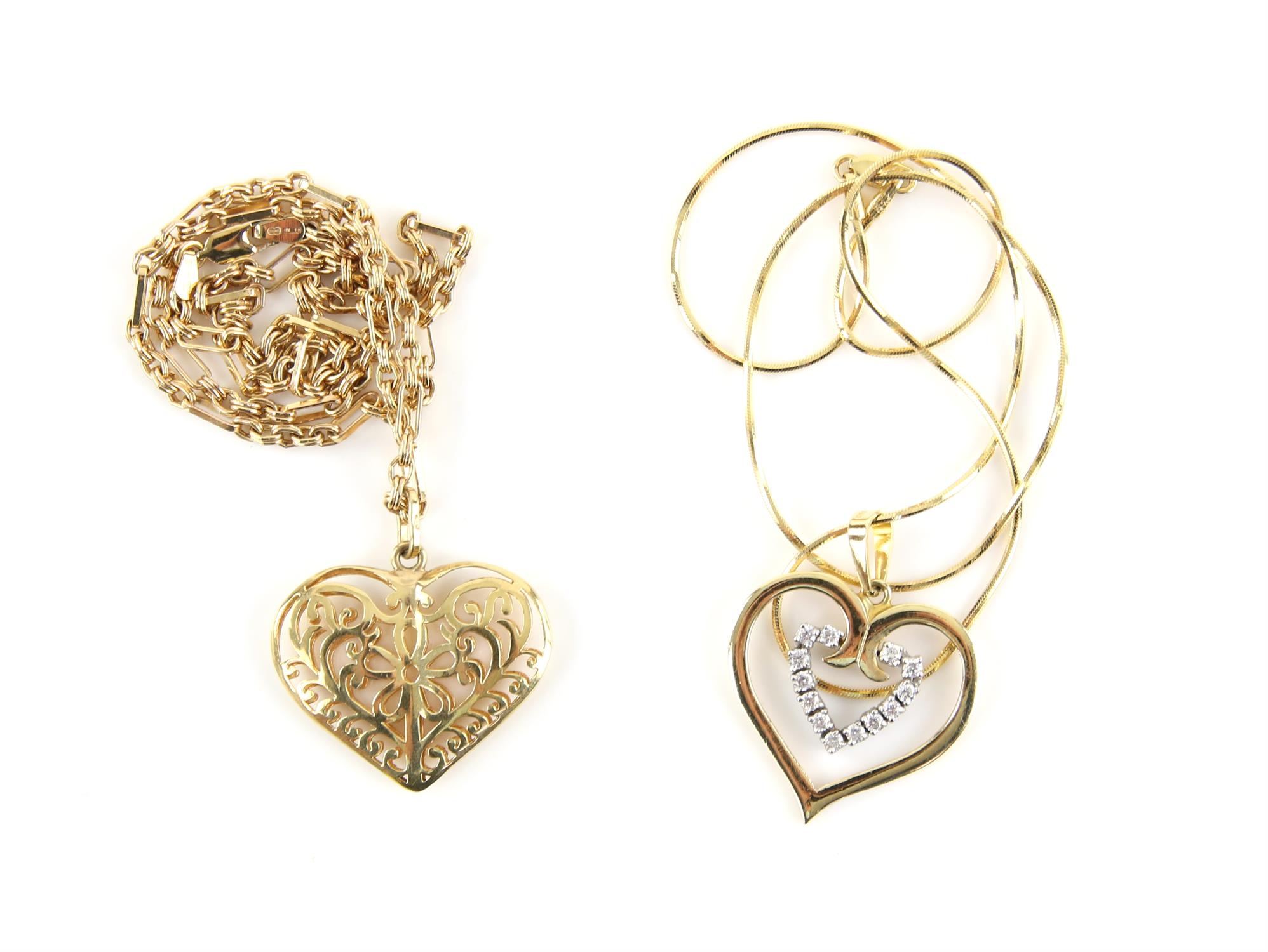 Two heart necklaces, including a filigree puff heart on a fancy link chain, in 9 ct, - Image 2 of 2
