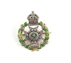 The Rifle Brigade, The Princes Consorts Own, ruby, diamond and enamel sweetheart brooch,