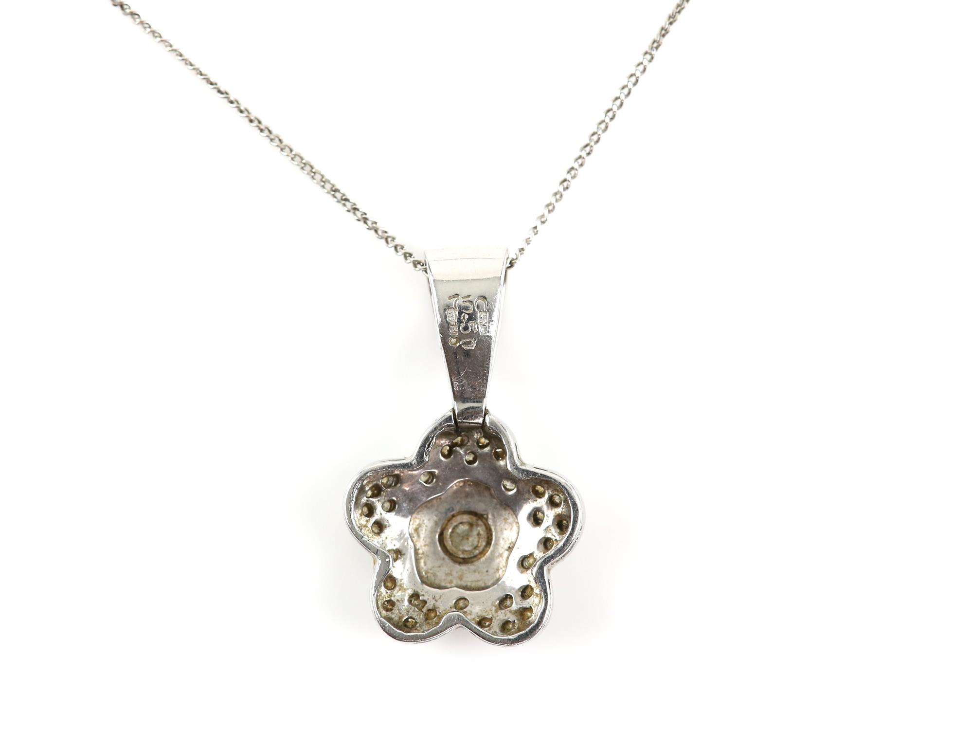 Diamond flower pendant, set with round brilliant cut diamonds, on a diamond set bail, - Image 2 of 3