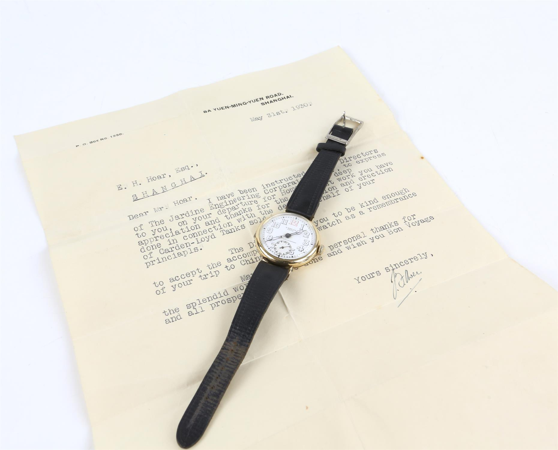 Ulysee Nardin, a Gentleman's gold wristwatch in circular case, the signed white enamel dial with - Image 2 of 10