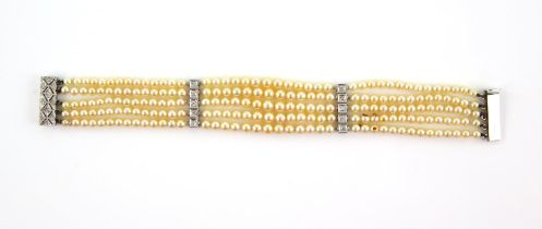 Art Deco style bracelet, with rows of pearls and diamond set bars, five rows of cream coloured
