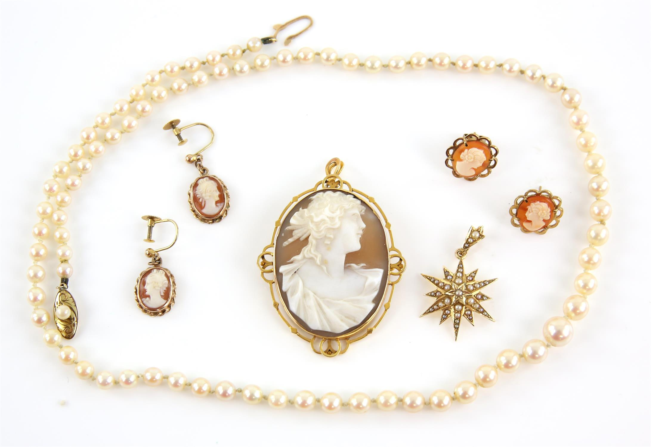 Mixed group of jewellery, including a shell cameo pendant /brooch, two pairs of shell cameo