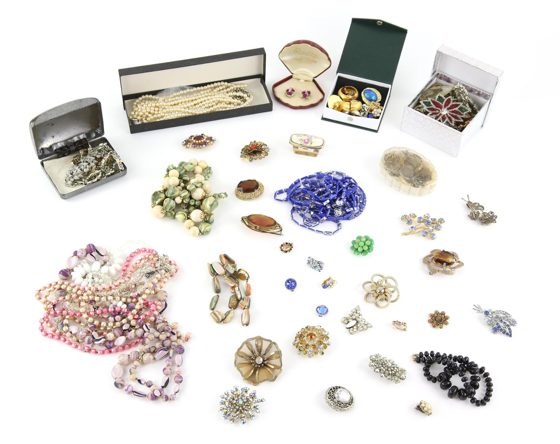 A collection of costume jewellery, including marcasite crescent brooch, Coalport clip on earrings