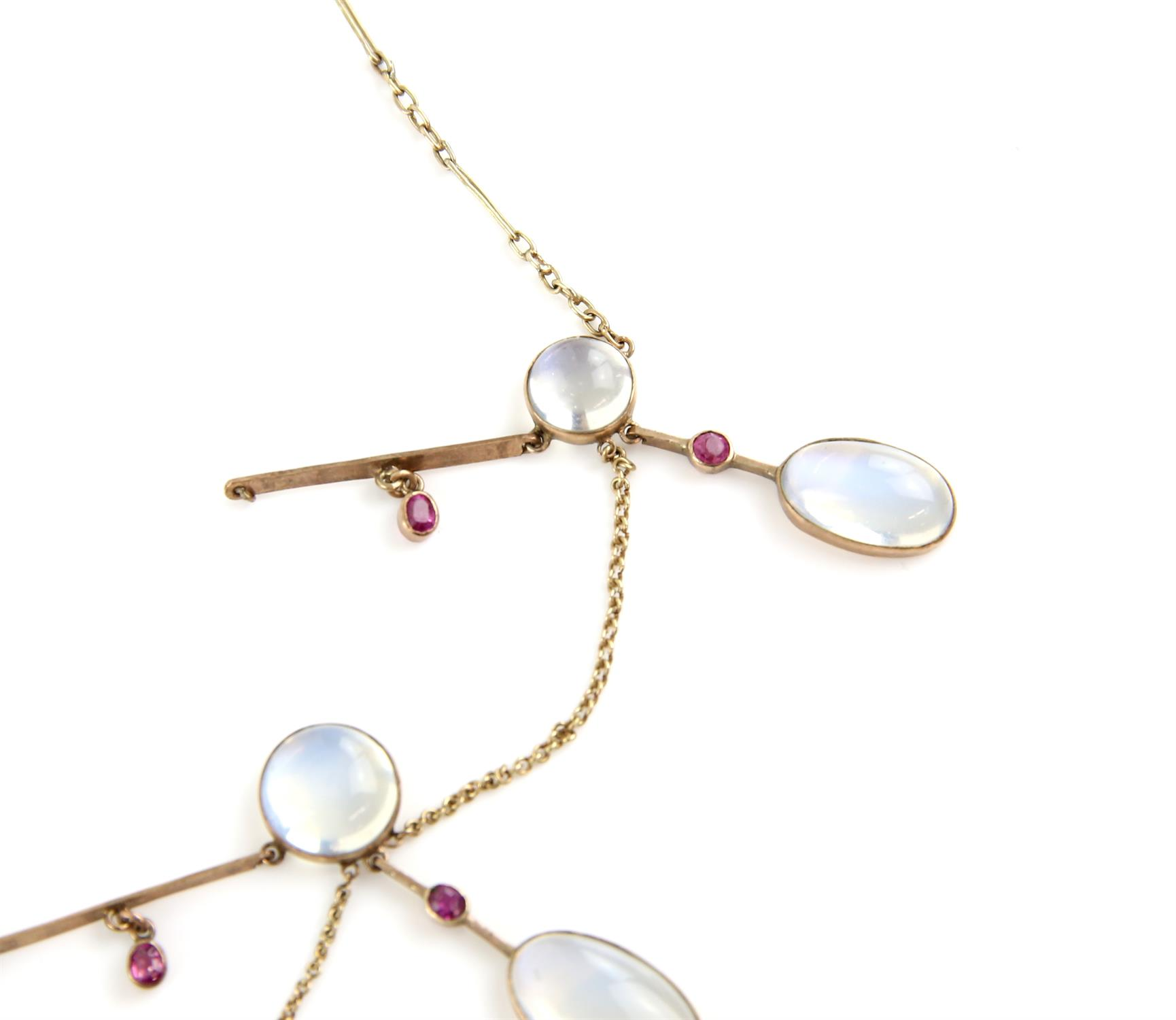 Early 20th C moonstone and ruby fringe necklace, designed as three moonstone drops, - Image 2 of 2