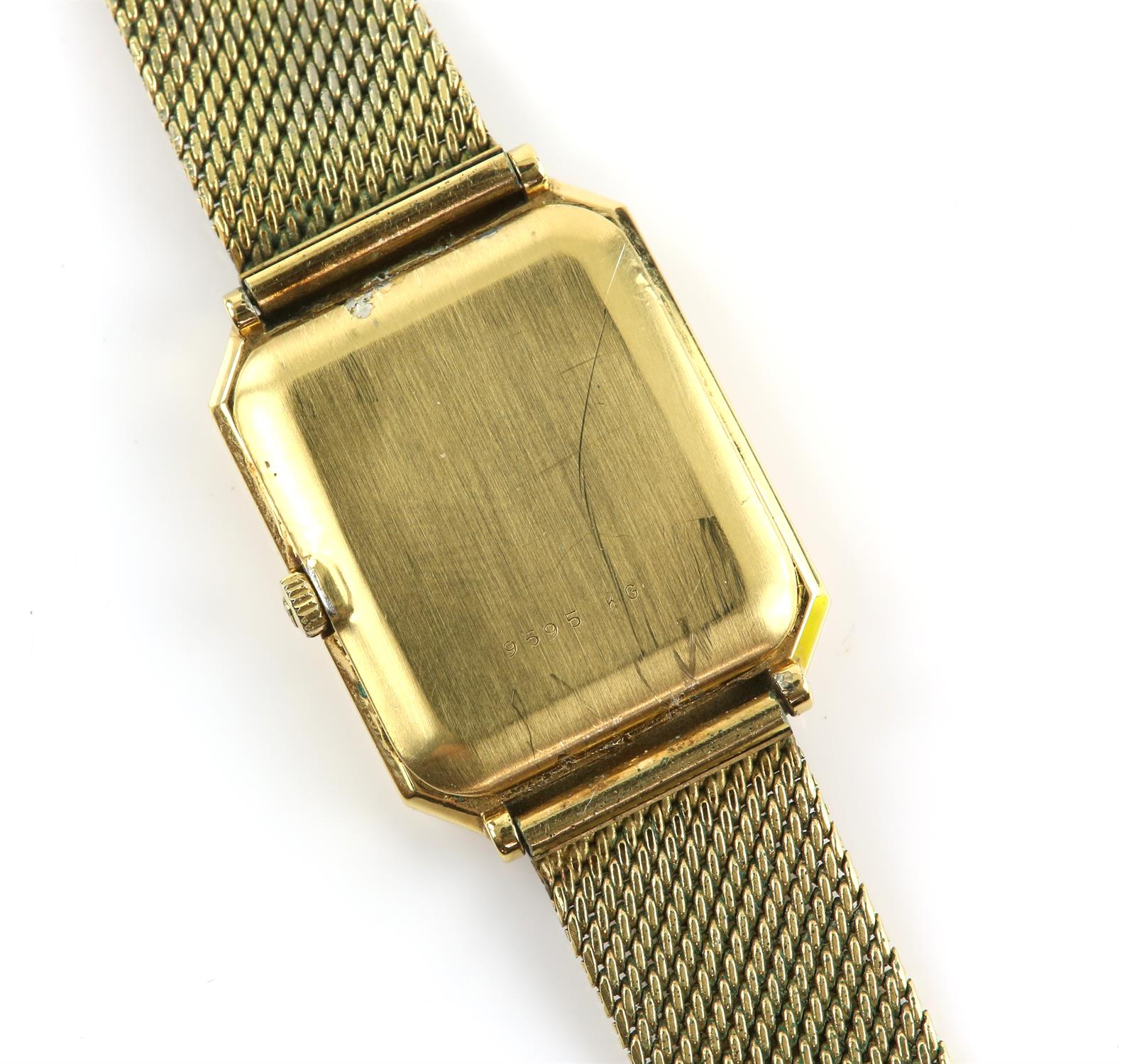 Girad-Perregaux A gentleman's wrist watch, the rectangular signed brushed gold signed dial case - Image 2 of 2