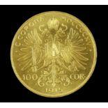 Austria gold 100 Corona 1915 official restrike