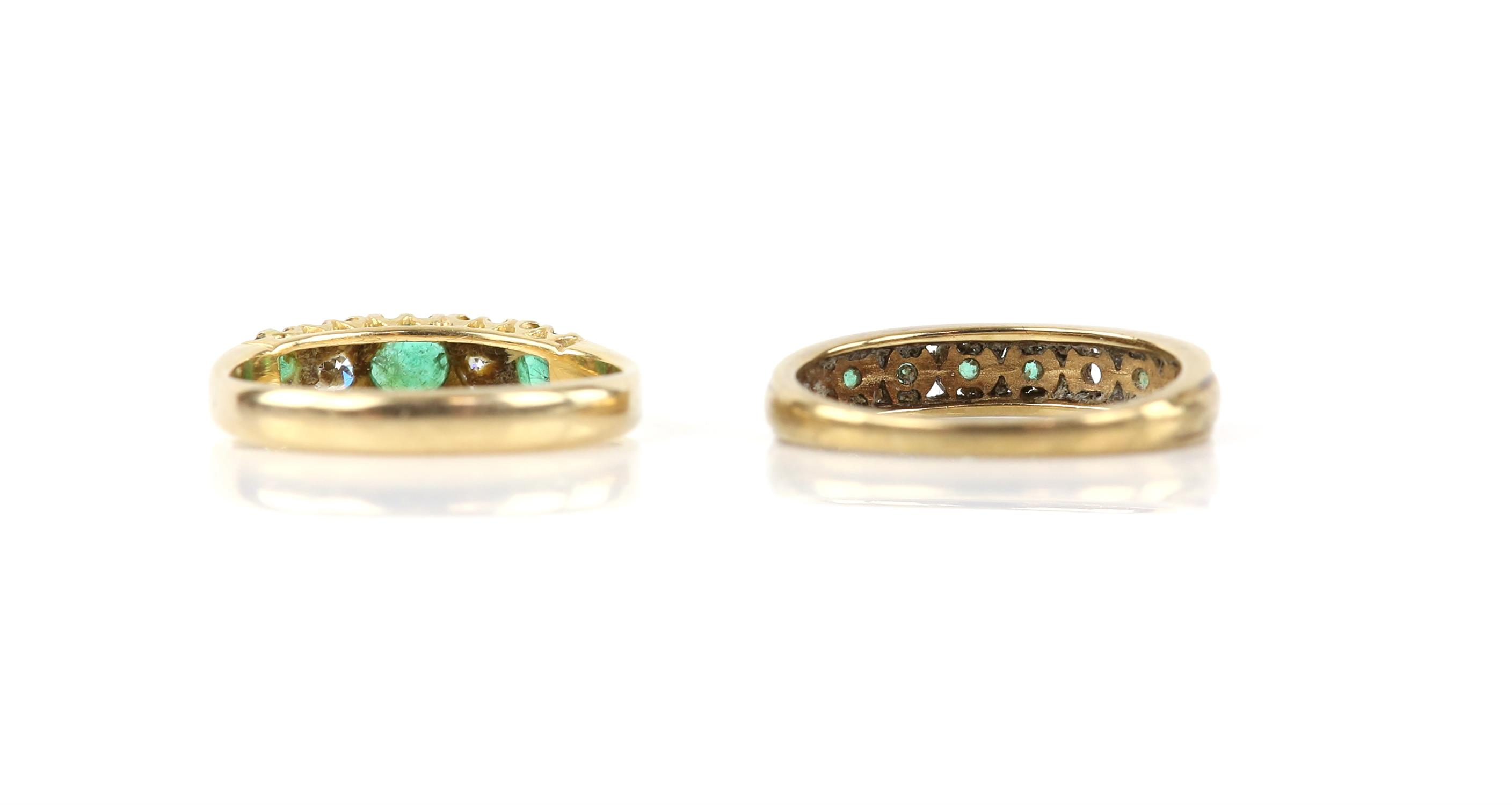 Emerald and diamond five stone ring, set with three round cut emeralds and two round brilliant cut - Image 2 of 2
