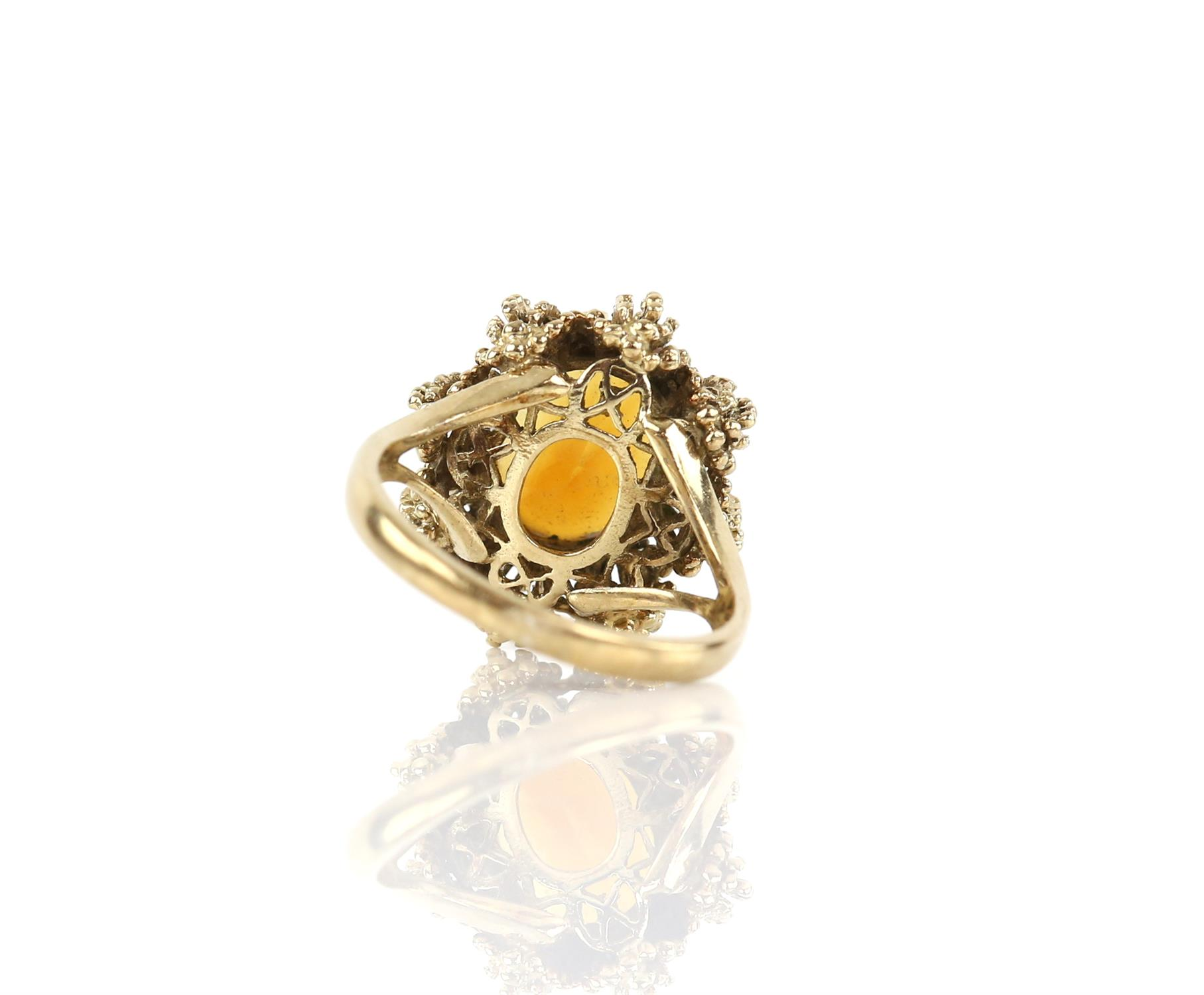 Vintage citrine ring, mixed cut citrine, measuring 12.1 x 10 mm, in a textured 9 ct mount, - Image 3 of 3