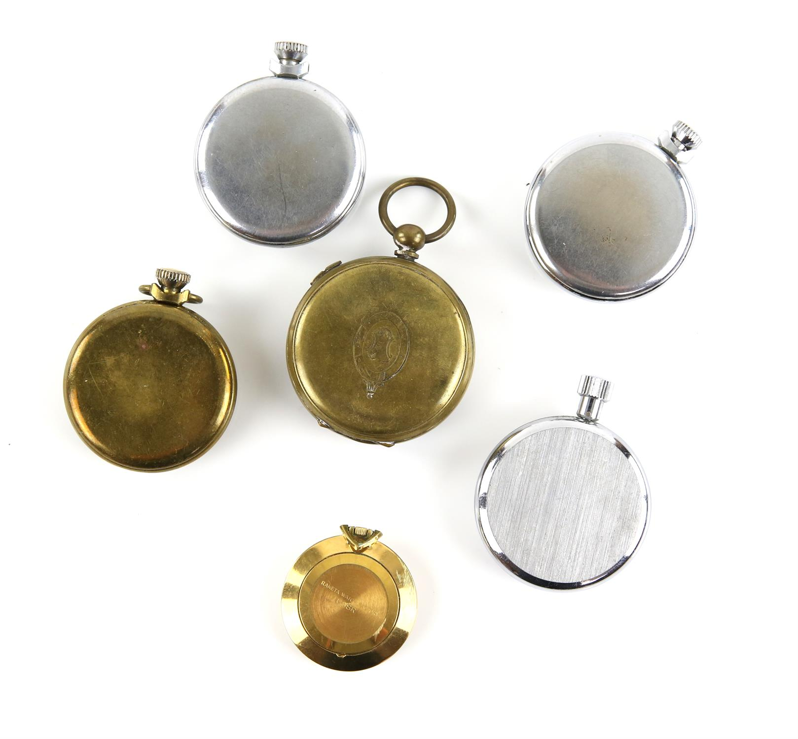 Six pocket watches, including a Heuer, track mate stop pocket watch, with lever wound movement, - Image 2 of 2