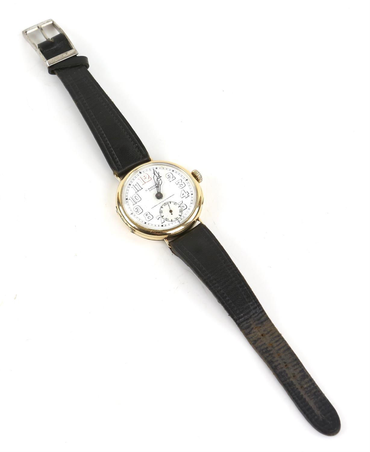 Ulysee Nardin, a Gentleman's gold wristwatch in circular case, the signed white enamel dial with - Image 3 of 10
