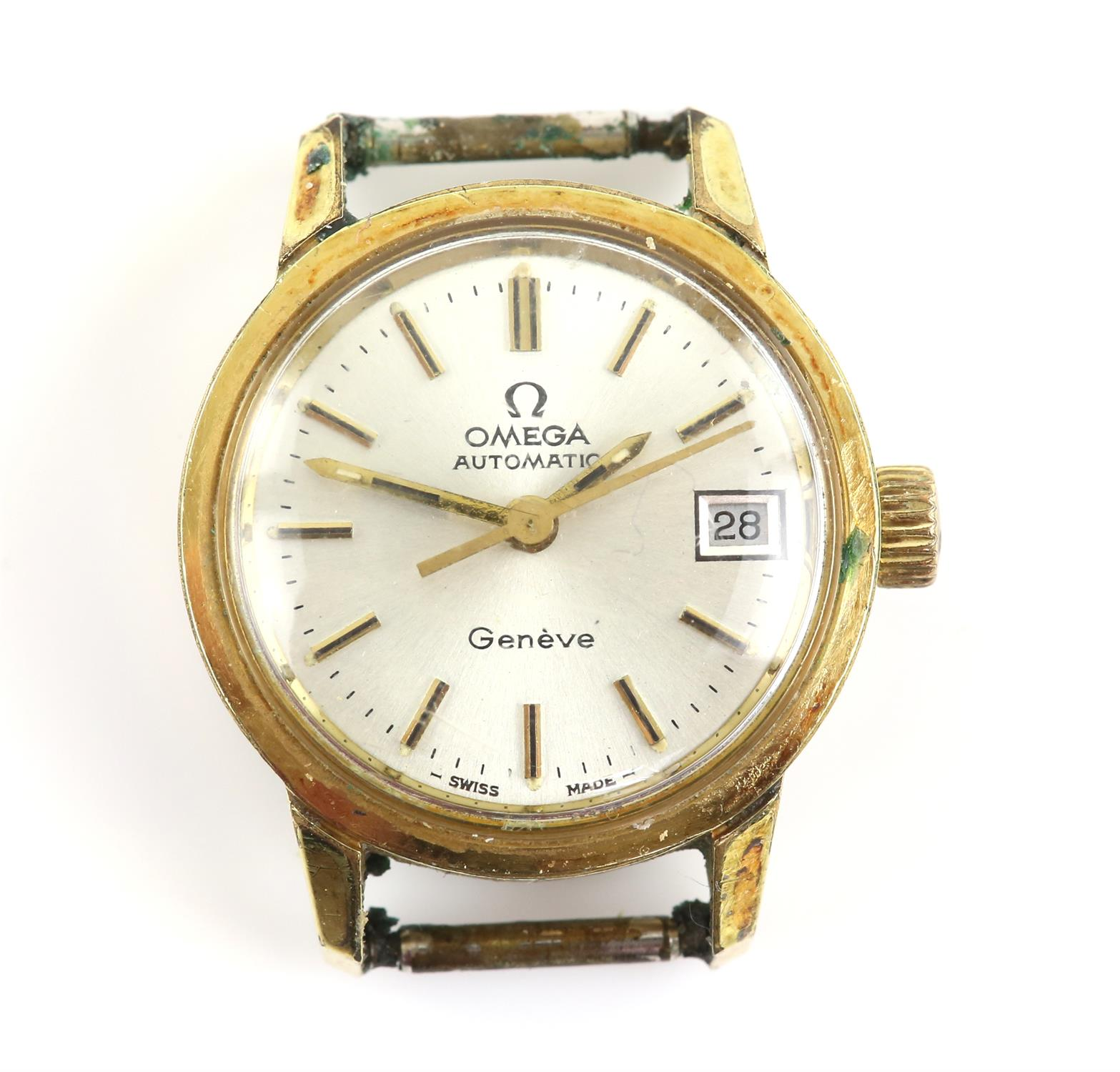 AMENDED DESCRIPTION Omega Geneve, a Ladies gold plated wristwatch the signed silvered dial with
