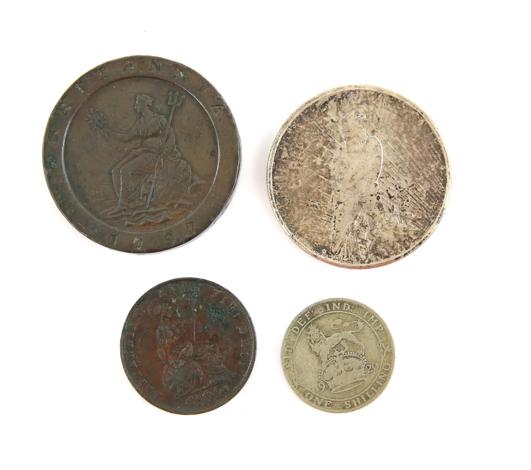 Four coins including a British cartwheel twopence 1797, a Victoria halfpenny 1854 near very fine, - Image 2 of 2