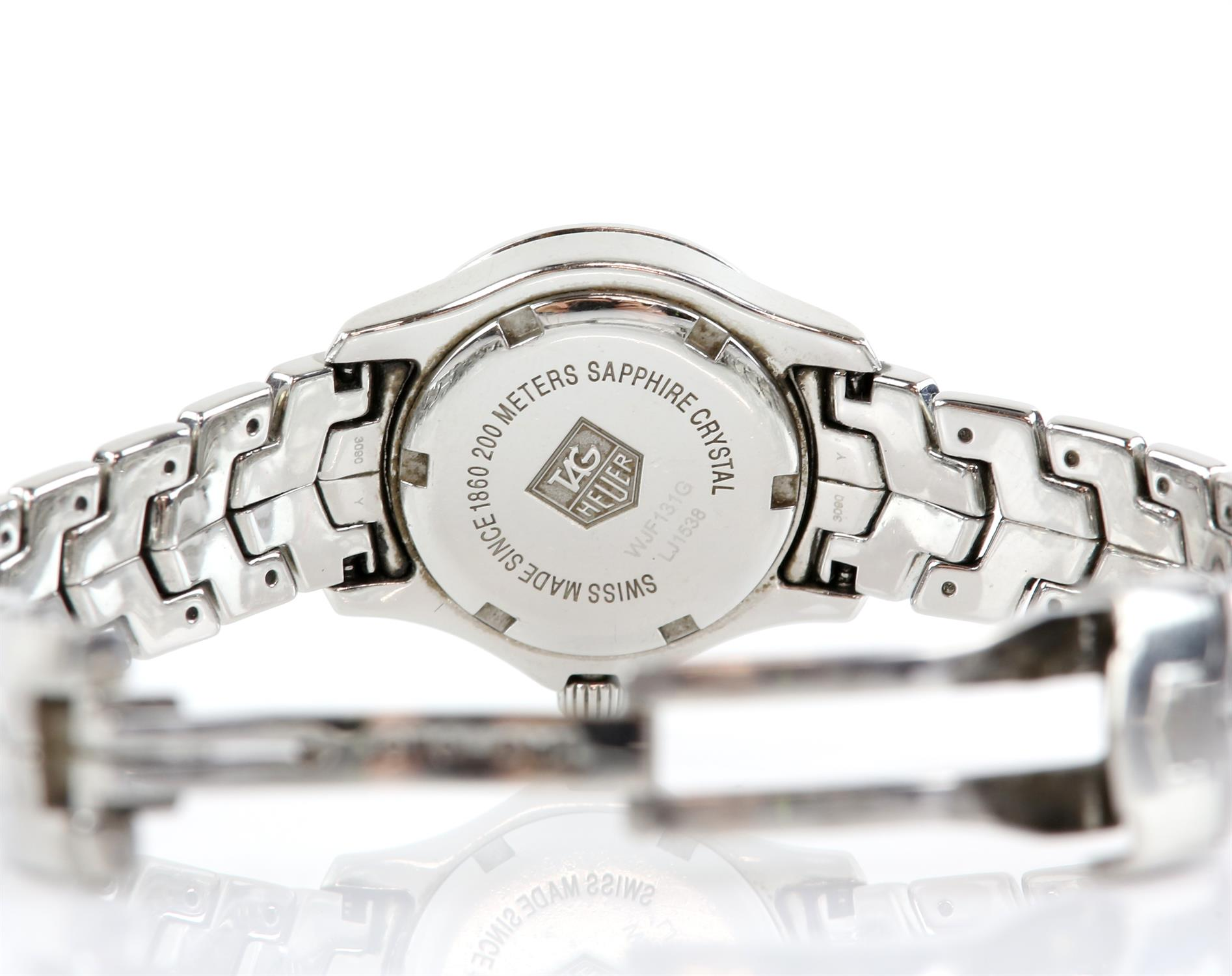 Tag Heuer A Ladies stainless steel Link Reference WJF131G wristwatch, the signed dial set with - Image 3 of 3