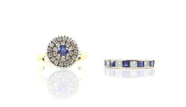 Sapphire and diamond cluster ring, centrally set with a round cut sapphire surrounded two rows of