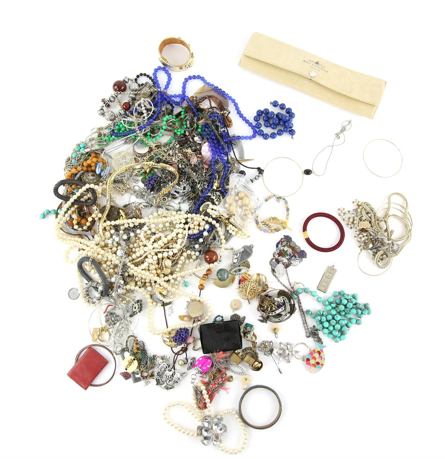 Large bag of costume jewellery to include Moet & Chandon watch in case, a large selection of faux