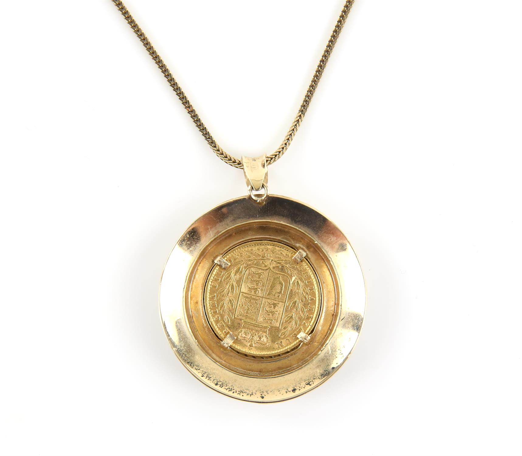 Pendant coin mount, in 9 ct set with a Victorian 1871 shield back sovereign, on a fancy link chain, - Image 2 of 3