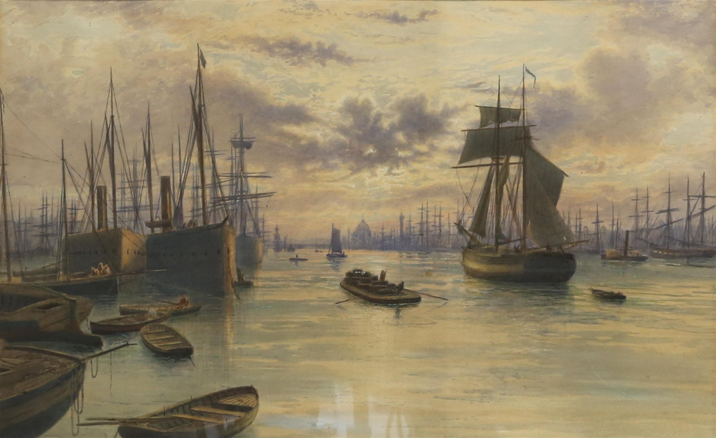 Frederick Miller (19th Century). Shipping on the Pool of London at dusk. Watercolour,