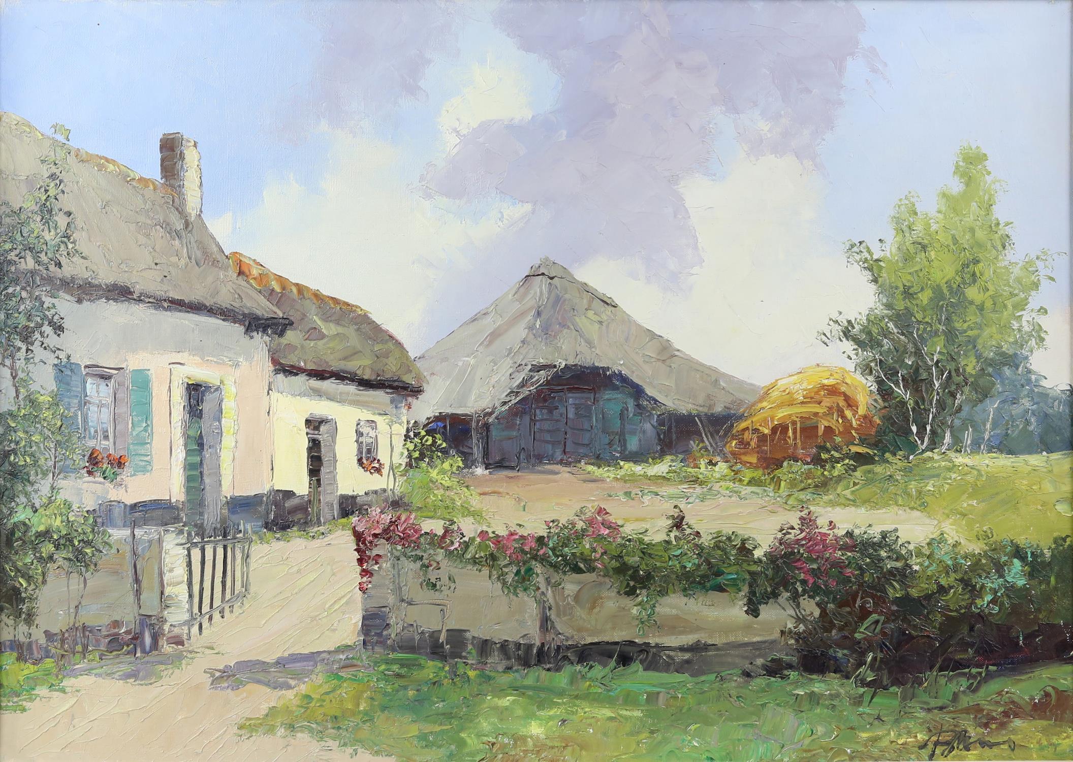 Bernard Laarhoven (Dutch, 1912). Dutch farmstead near Alkmar, Holland , title to verso,