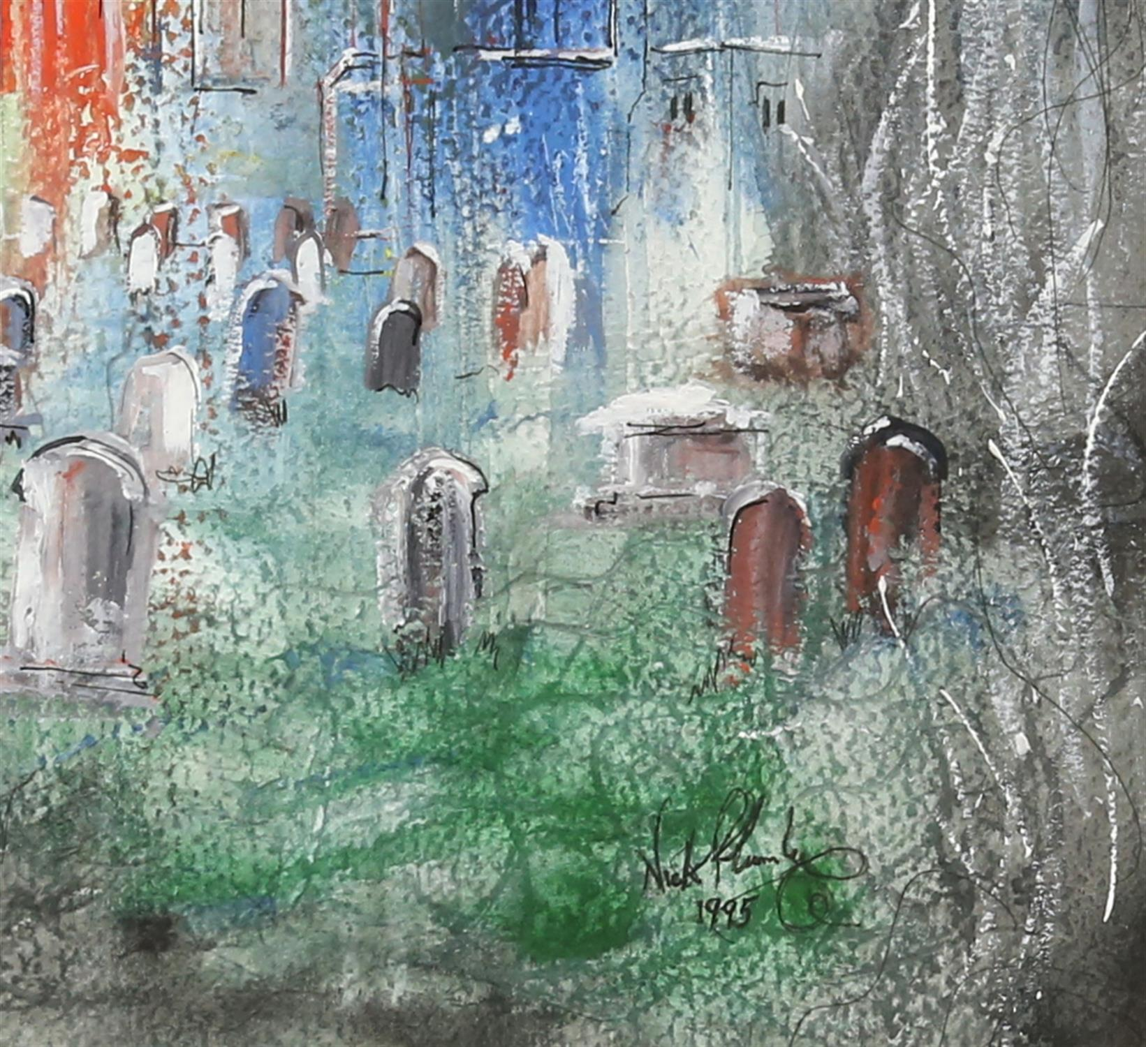 Nick Plumley (British, b. 1940), church yard scene, signed and dated 1995, gouache, 44cm x 33cm, - Image 3 of 4