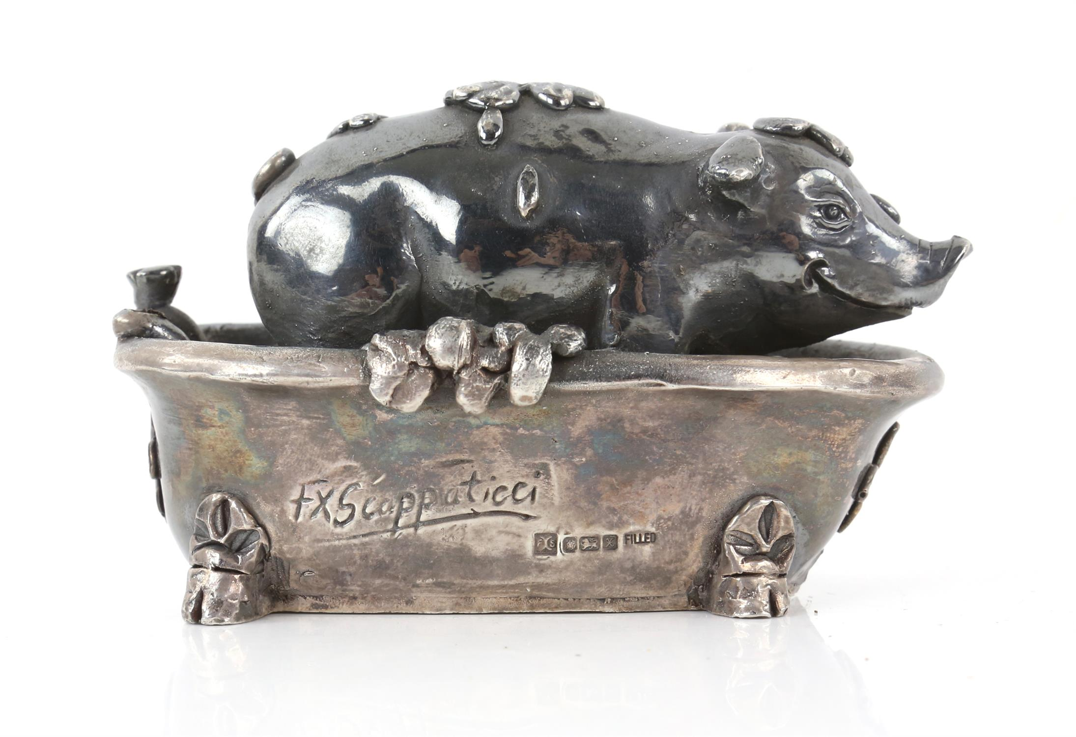 Large filled silver model of a pig in a bathtub by FX Scappaticci, Sheffield 1997