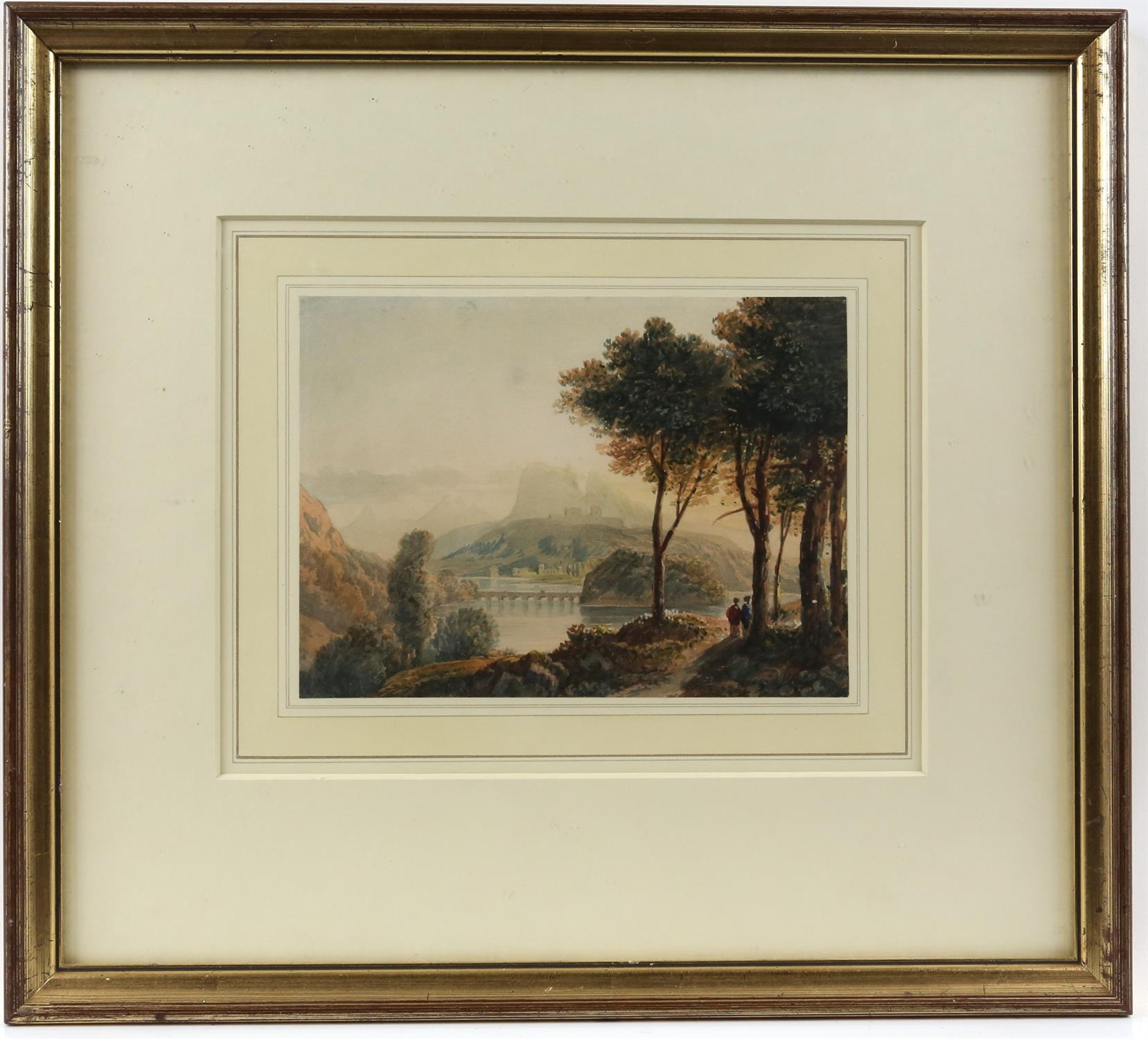 Circle of Francis Oliver Finch (British, 1802-1862), classical landscape with figures on a path in - Image 2 of 3
