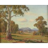 Australian School, landscape with gum trees, oil on canvas-board, 41cm x 51cm