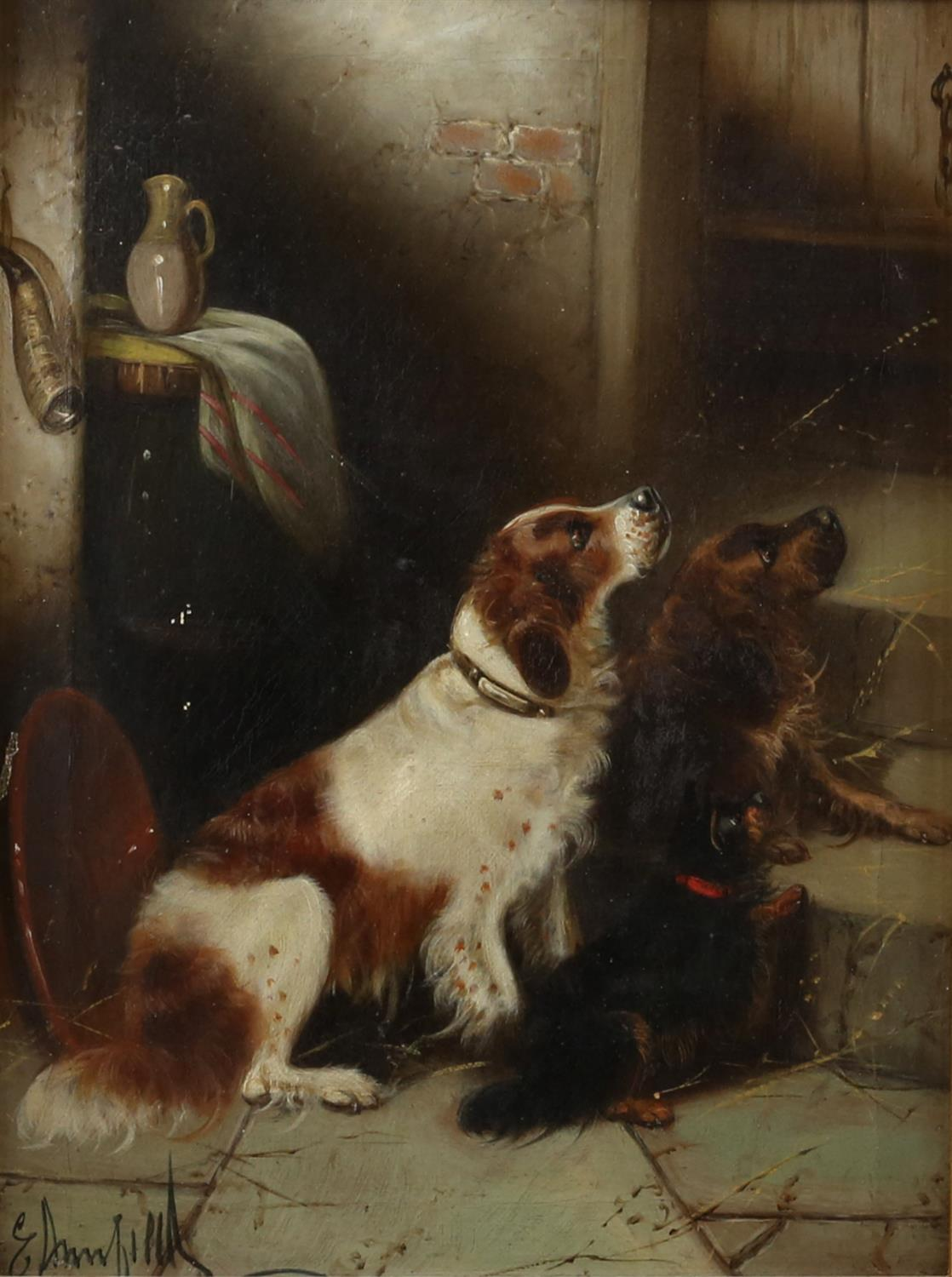 Edward Armfield (British, 1817-1896) 'Waiting for Master'; and 'Terriers Misbehaving', both signed, - Image 5 of 9