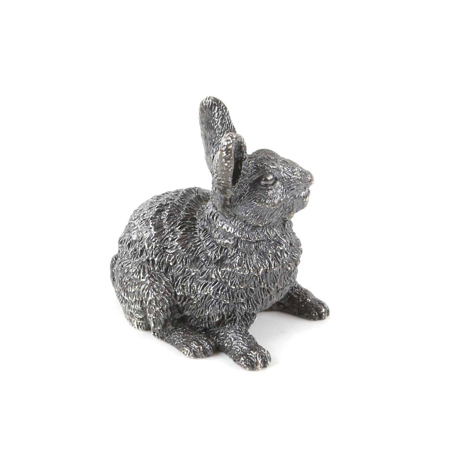 Silver model of a rabbit with import marks for London by FM - Image 3 of 4