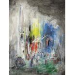 Nick Plumley (British, b. 1940), church yard scene, signed and dated 1995, gouache, 44cm x 33cm,