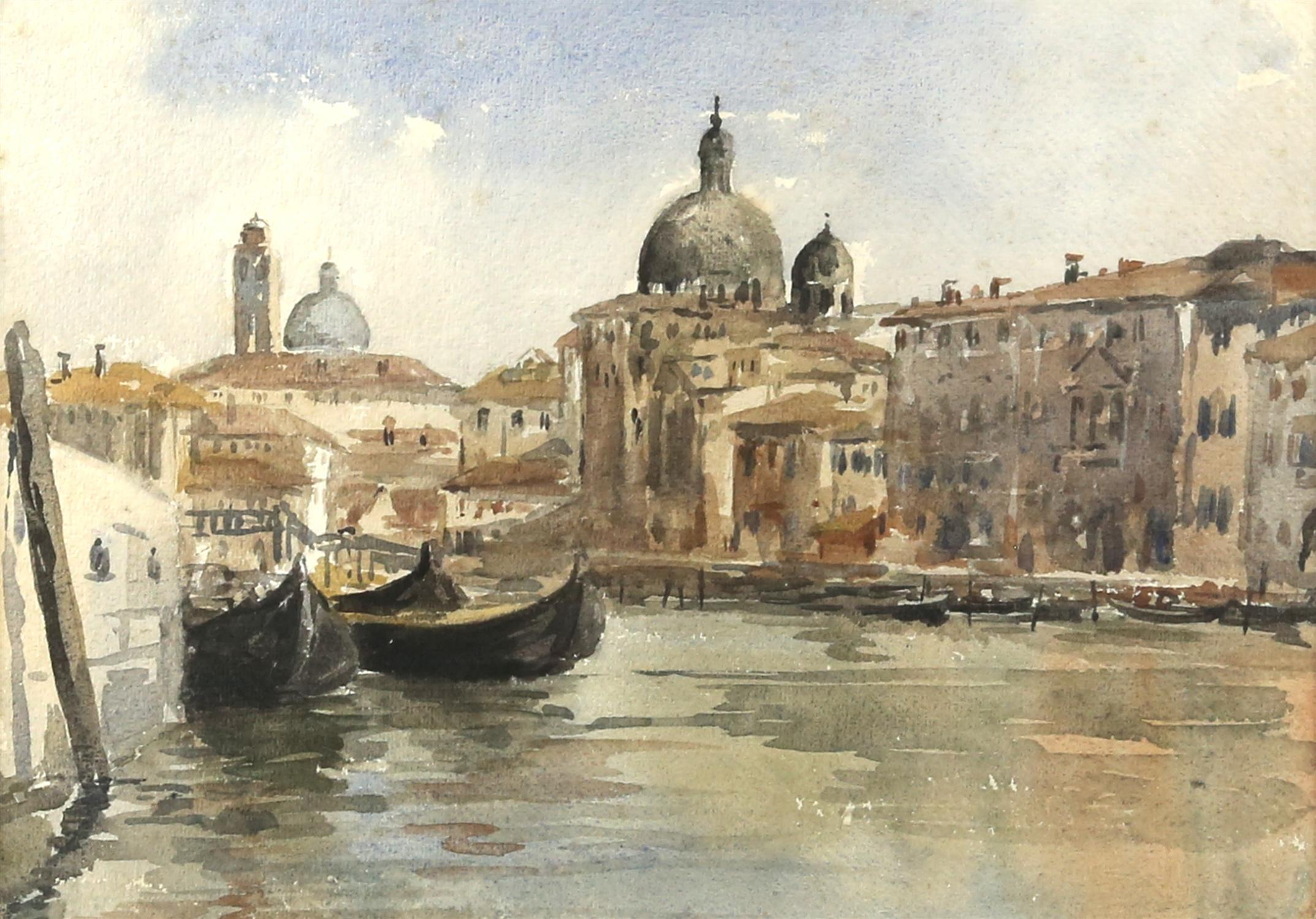 Attributed to Sir Charles W. D'Oyly (British, 1781-1845). The Grand Canal, Venice. Watercolour.