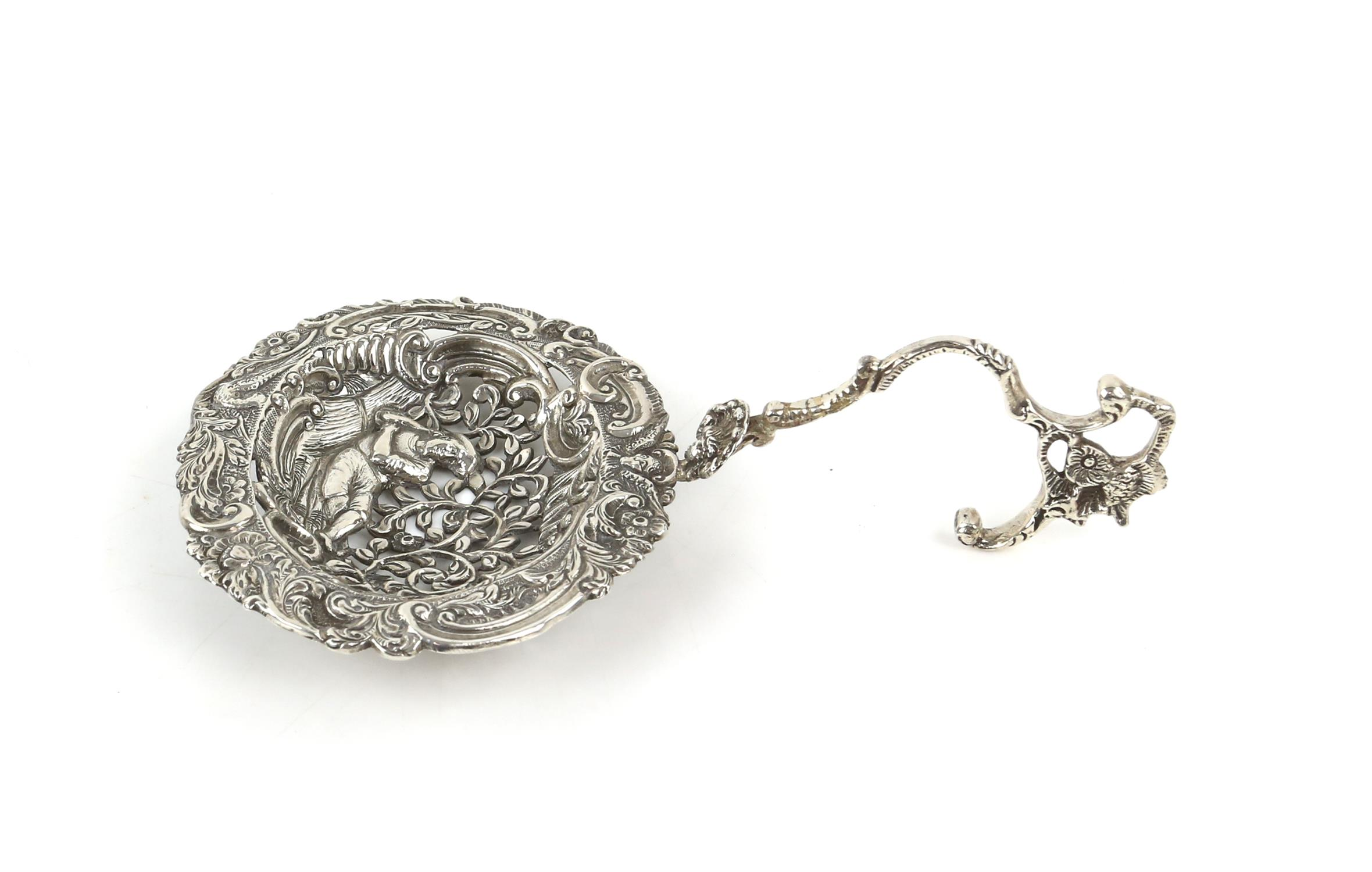 Large Continental silver bon bon sifter spoon with a man surrounded by foliage, import marks ETB - Image 2 of 5