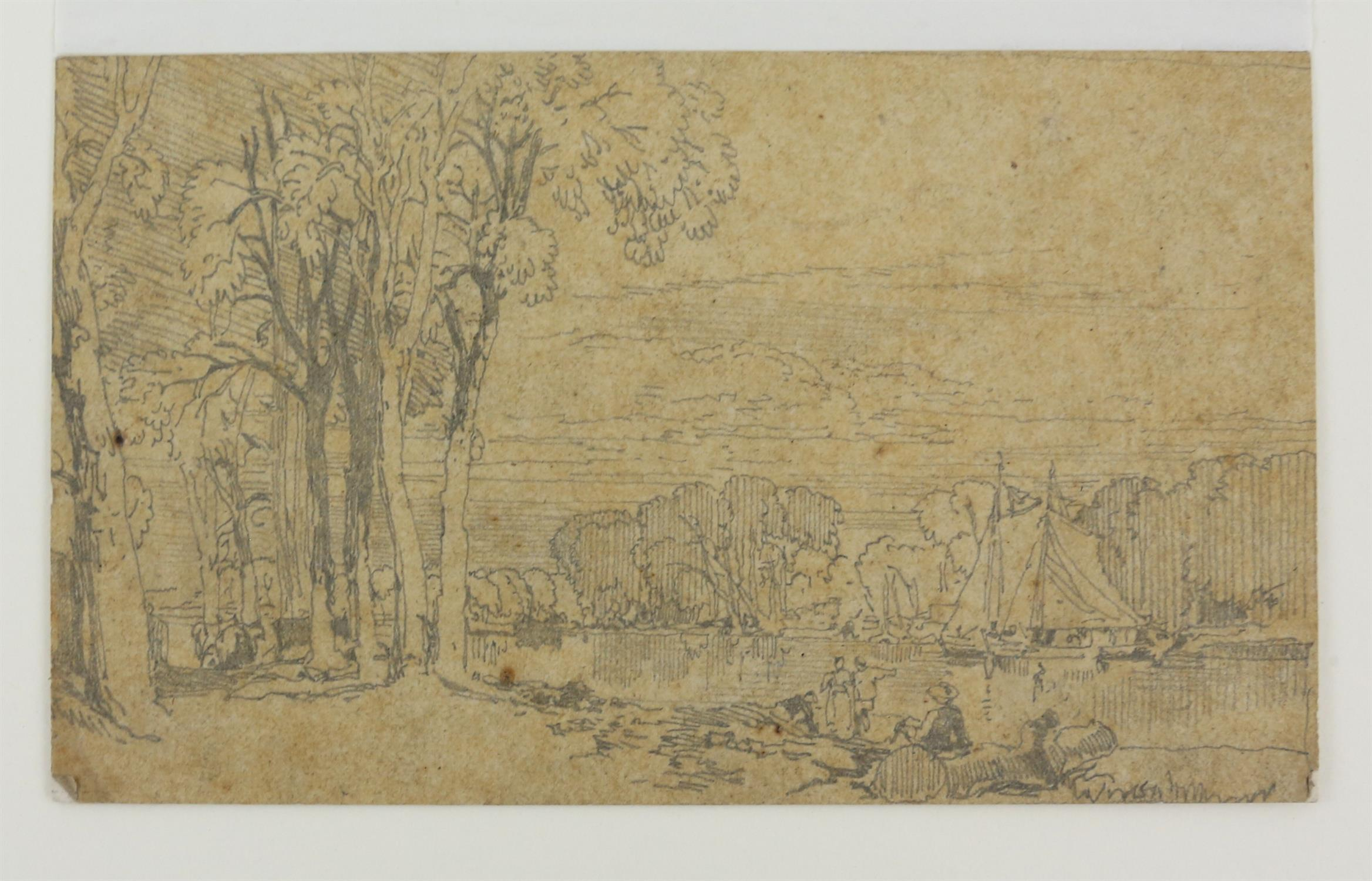 19th century scene with a castle and figures before the moat, sepia wash, 9.5cm x 15. - Image 7 of 8