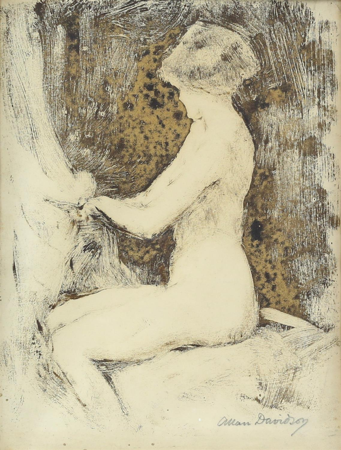 Allan Davidson (British, 1873-1932), seated nude, signed, oil on paper, 22cm x 16.5cm,