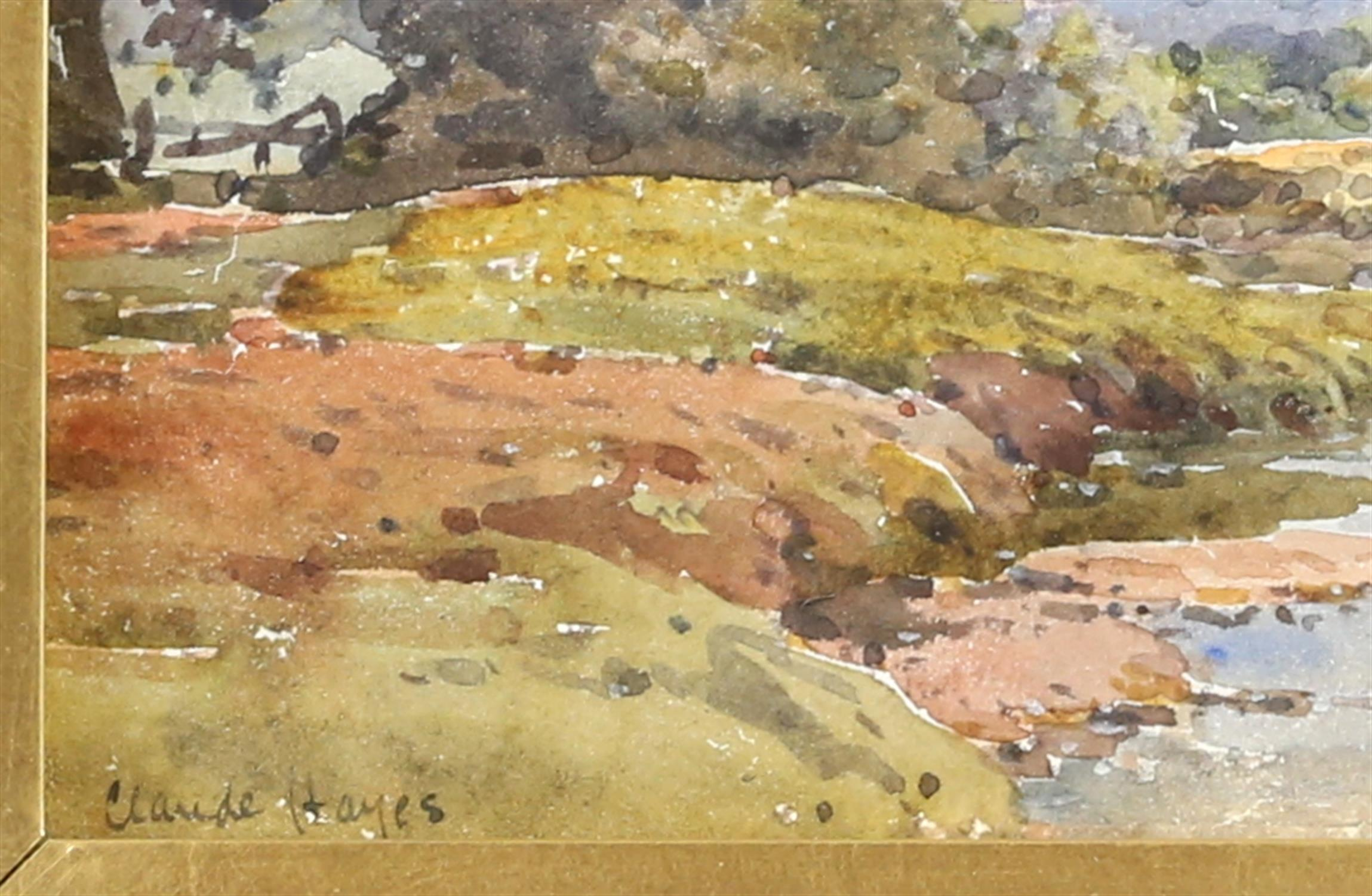 Claude Hayes (British, 1852-1922), landscape with cattle watering at a stream, signed, watercolour, - Image 3 of 4
