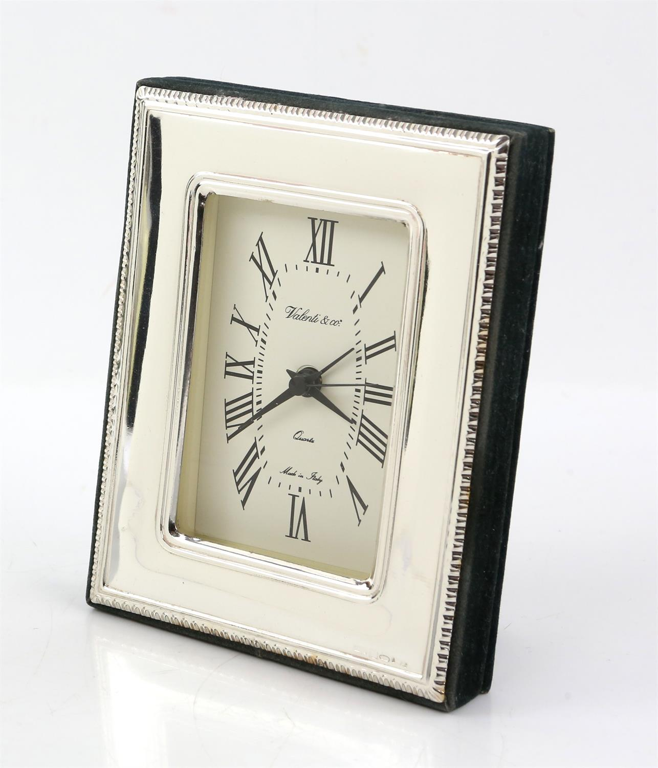 Continental silver framed clock by Valenti and Co - Image 3 of 4
