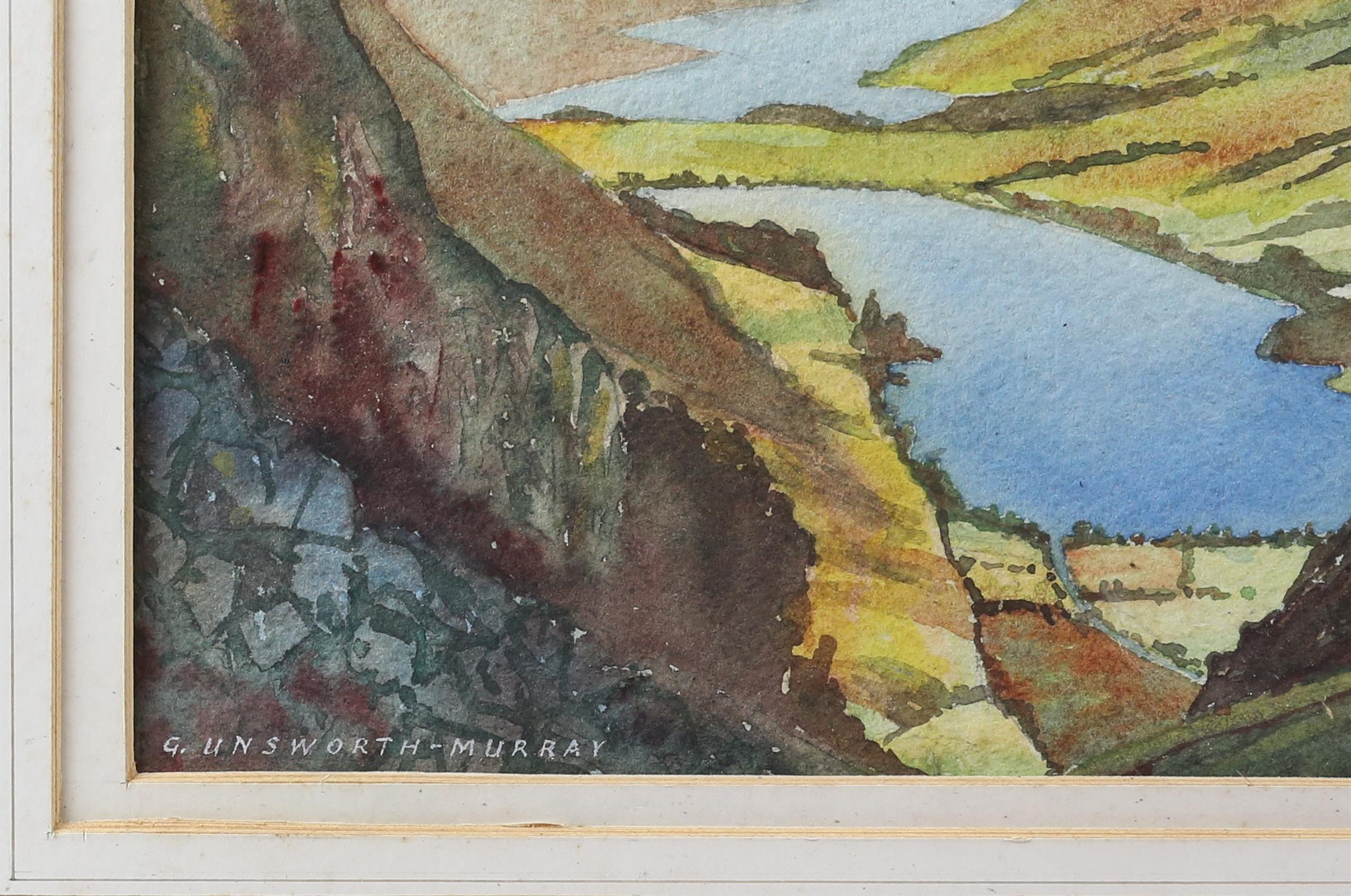 G Unsworth-Murray, British 20th century, 'Buttermere and Crummock Water', signed, watercolour, 26. - Image 3 of 3