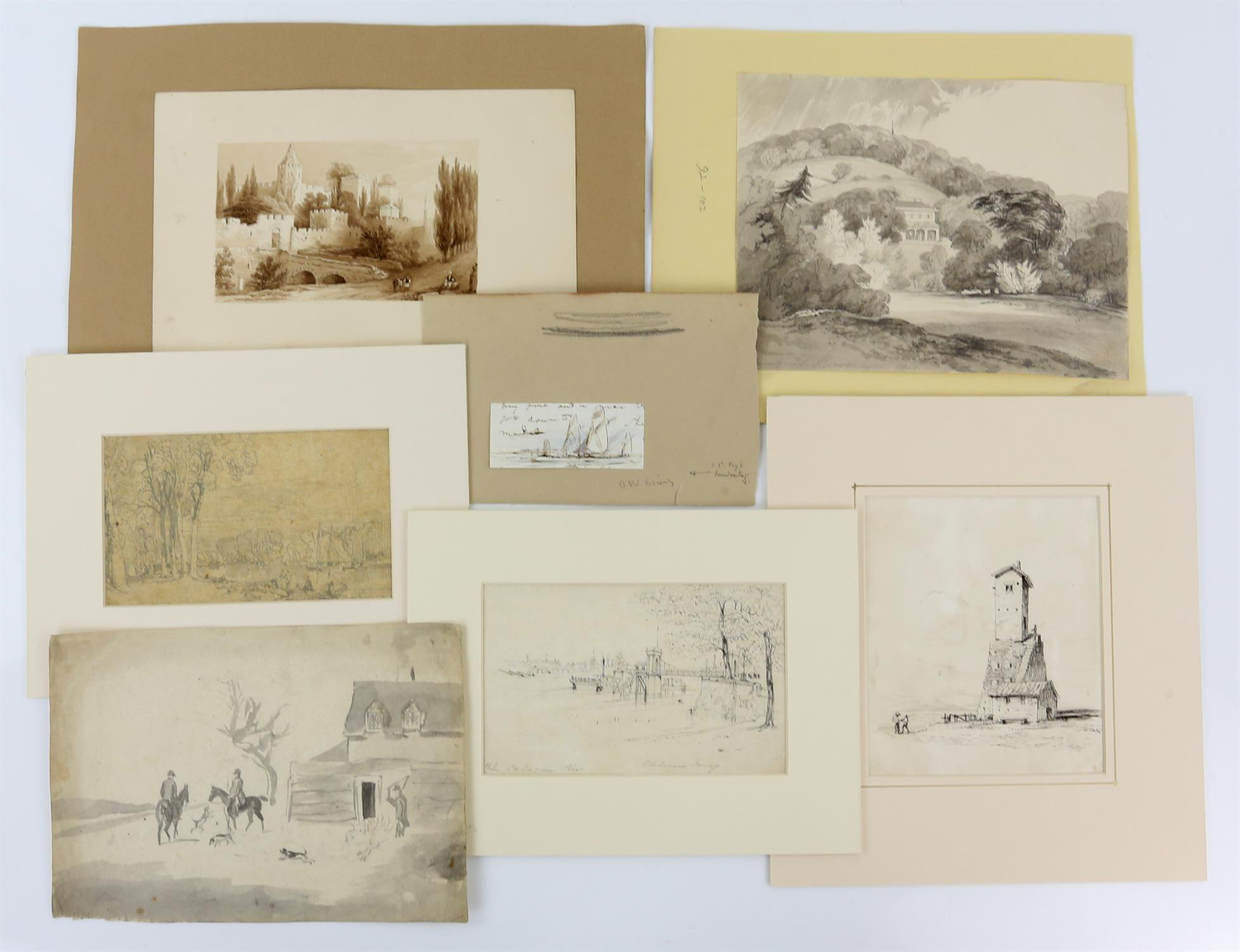 19th century scene with a castle and figures before the moat, sepia wash, 9.5cm x 15.
