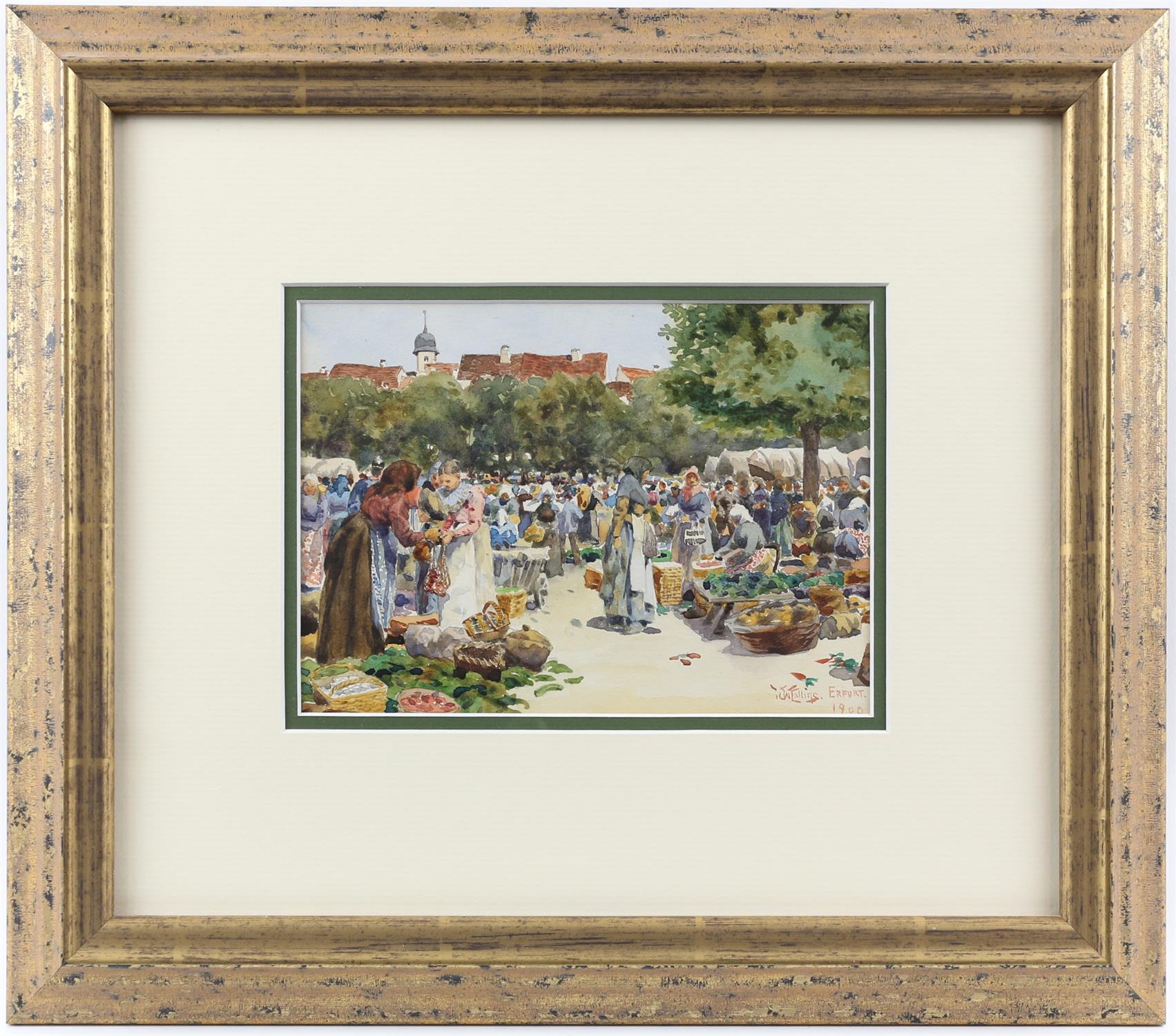William Wiehe Collins, British 1862-1951, 'Erfurt', market scene, signed and dated 1900, - Image 2 of 4
