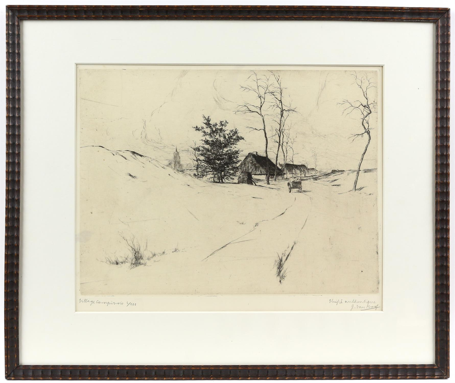 Jos van Hoof (Belgian, 1889-1937). 'Village Campinois', limited edition etching, signed, - Image 2 of 5